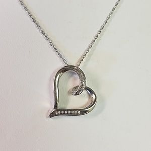 Diamond Sterling Silver Heart Necklace